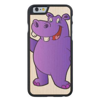 dibujo animado púrpura del hipopótamo funda de iPhone 6 carved® slim de arce