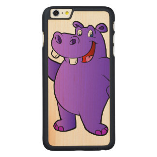 dibujo animado púrpura del hipopótamo funda para iPhone 6 de carved® de arce