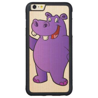 dibujo animado púrpura del hipopótamo funda para iPhone 6 plus de carved® de nogal