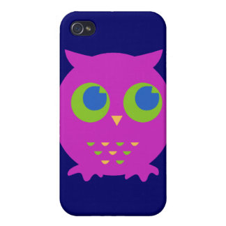 Dibujo animado púrpura lindo del búho iPhone 4 coberturas