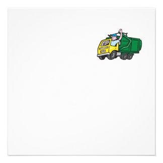 Dibujo animado que agita del conductor de camión comunicados personales