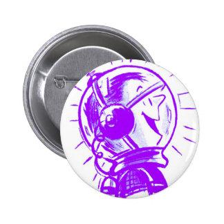 Dibujo animado retro Sci Fi 'Spaceman feliz del vi Chapa Redonda 5 Cm