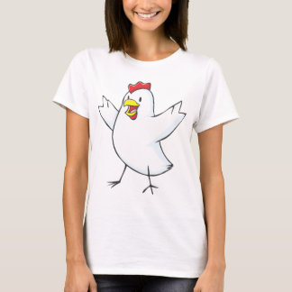 Dibujo animado rojo de la gallina camiseta