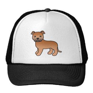 Dibujo animado rojo Staffordshire bull terrier Gorras