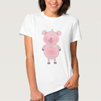 Dibujo animado rosado alegre del cerdo camisetas