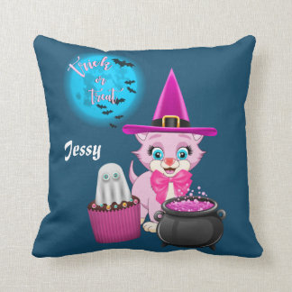 Dibujo animado rosado de Halloween del gatito Cojín Decorativo
