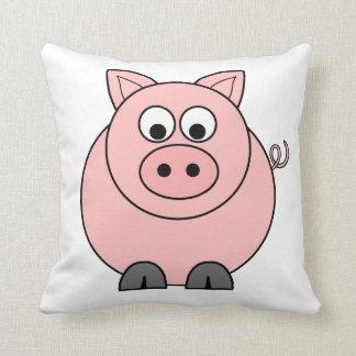 Dibujo animado rosado del cerdo cojín decorativo