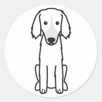 Dibujo animado ruso del este del perro de caza que pegatina redonda