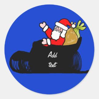 Dibujo animado Santa y trineo Etiqueta