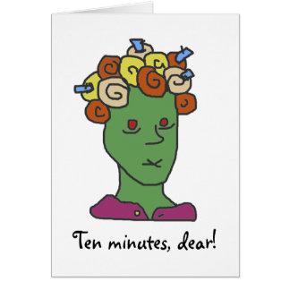 Dibujo animado soñoliento divertido diez minutos tarjeta de felicitación