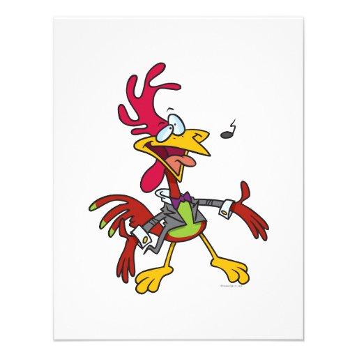 dibujo animado tonto del gallo del canto anuncios personalizados