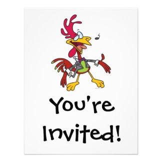 dibujo animado tonto del gallo del canto invitaciones personalizada