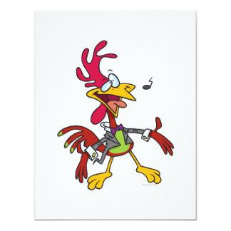 dibujo animado tonto del gallo del canto invitación 10,8 x 13,9 cm
