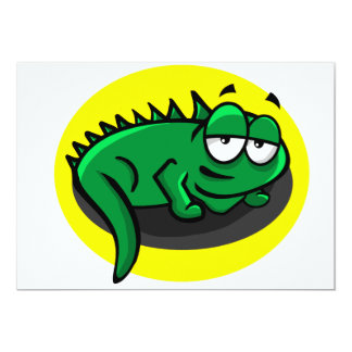 Dibujo animado tonto del lagarto invitación 12,7 x 17,8 cm