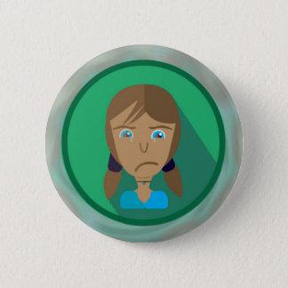 DIBUJO ANIMADO TRISTE del CHICA del botón redondo