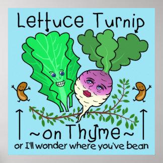 Dibujo animado vegetal del retruécano de la póster