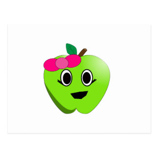 Dibujo animado verde de la manzana postal