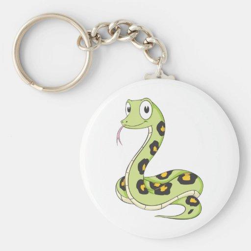 Dibujo animado verde lindo de la serpiente del Ana Llavero de Zazzle.