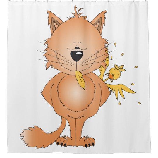 Dibujo animado y amigo traviesos lindos del gato cortina de baño