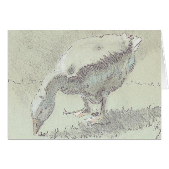 Dibujo blanco del ganso tarjeta de felicitación