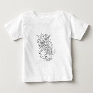 Dibujo blanco y negro de la cabeza del geisha de camiseta de bebé