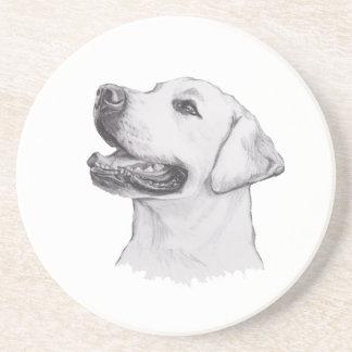Dibujo clásico del perfil del perro del labrador posavasos de arenisca