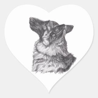 Dibujo clásico del retrato del perfil del pastor pegatina en forma de corazón