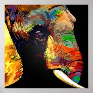 Dibujo colorido del retrato de la cabeza del póster