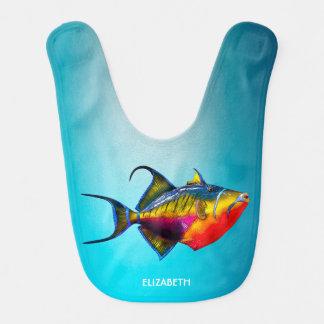 Dibujo colorido psicodélico de los pescados del babero