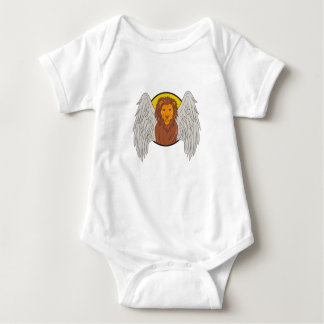 Dibujo con alas del círculo de la cabeza del león body para bebé
