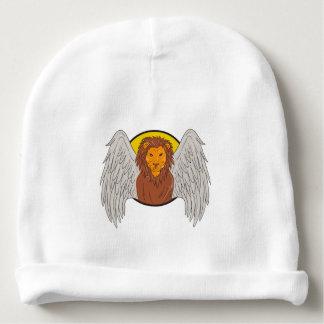 Dibujo con alas del círculo de la cabeza del león gorrito para bebe
