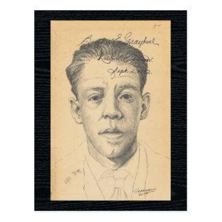 Dibujo contemporáneo del retrato de la gente #139 postal