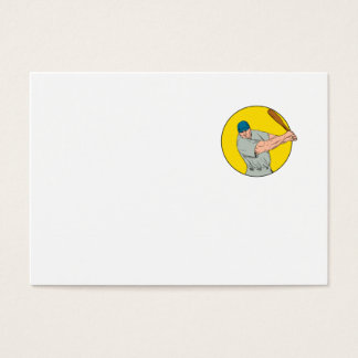 Dibujo de balanceo del palo del jugador de béisbol tarjeta de visita