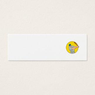 Dibujo de balanceo del palo del jugador de béisbol tarjeta de visita mini