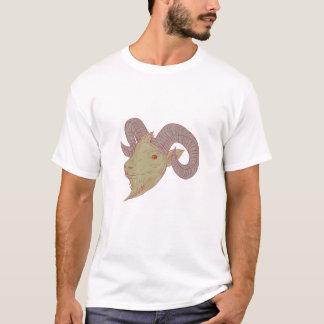 Dibujo de la cabeza del espolón de la cabra de camiseta