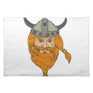 Dibujo de la cabeza del guerrero de Viking del Salvamanteles