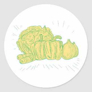 Dibujo de la cebolla del pimiento de Brocolli Pegatina Redonda