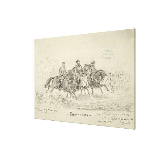 Dibujo de la mano de tres héroes de F.C. Buroughs  Lienzo Envuelto Para Galerias