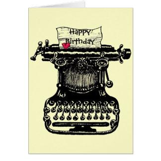 Dibujo de la máquina de escribir del vintage de la tarjeta de felicitación