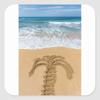 Dibujo de la palmera en la playa arenosa pegatina cuadrada
