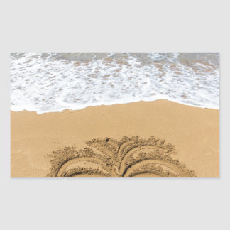 Dibujo de la palmera en la playa arenosa pegatina rectangular