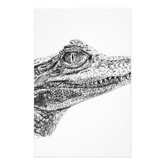 Dibujo de la tinta del cocodrilo del bebé papelería