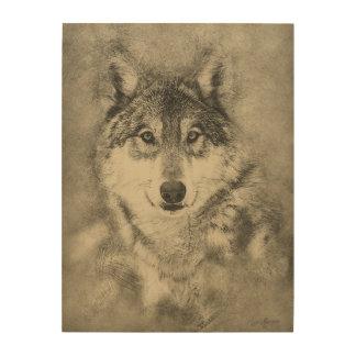Dibujo de lápiz del lobo de madera en el panel de impresión en madera