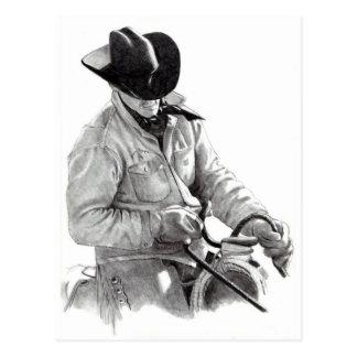 Dibujo de lápiz del vaquero en la silla de montar, postal