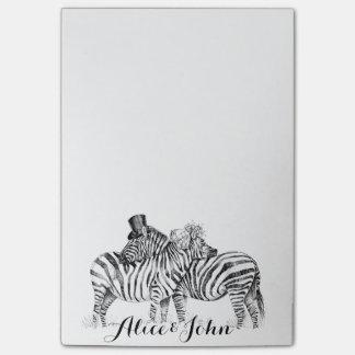 Dibujo de lujo de la tinta de las cebras del boda notas post-it®