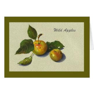 Dibujo de manzanas verdes salvajes, lápiz del real tarjeton