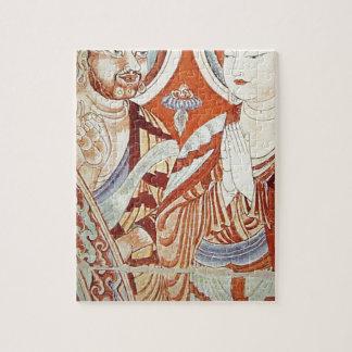 Dibujo de monjes budistas asiáticos centrales puzzle