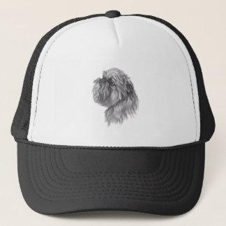 Dibujo del arte del carbón de leña del perro de gorra de camionero