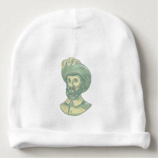 Dibujo del busto de Juan Sebastian Elcano Gorrito Para Bebe