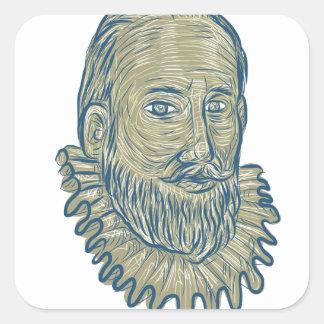 Dibujo del busto de sir Walter Raleigh Pegatina Cuadrada